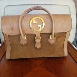 VINTAGE GUCCI Brown leather & Suede Travel Bag